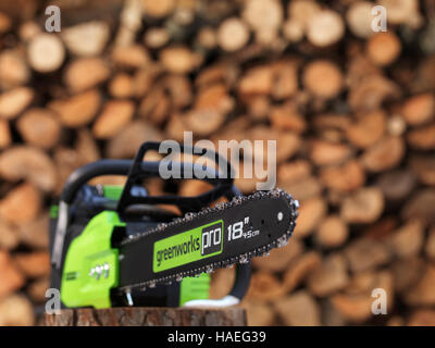 Electric Cordless battery powered chainsaw Greenworks in front of a stacked pile of firewood in the background - Stock Photo