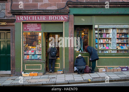 Armchair Books, a well-loved, charming, chaotic antiquarian and secondhand bookshop in West Port, Edinburgh, Scotland, - Stock Photo