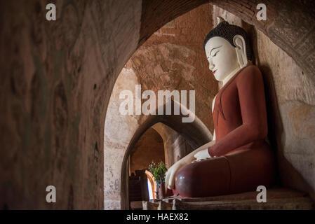 Buddha Statue at the Sulamani Temple, Bagan, Myanmar. - Stock Photo