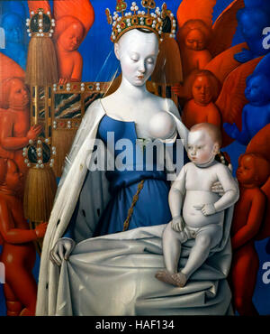 Madonna surrounded by Seraphim and Cherubim, by Jean Fouquet, 1452, Royal Museum of Fine Arts Antwerp, Belgium, - Stock Photo