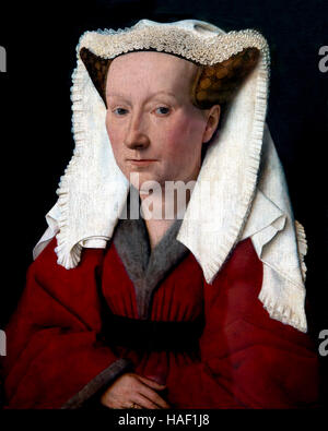 Portrait of Margareta van Eyck, by Jan van Eyck, 1439, Groeningemuseum, Bruges, West Flanders, Belgium, Europe - Stock Photo