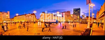 Zagreb central square evening panorama, capital of Croatia - Stock Photo