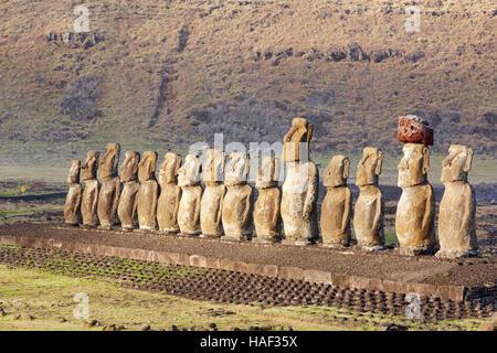 Ahu Tongariki Moai, Easter Island - Stock Photo