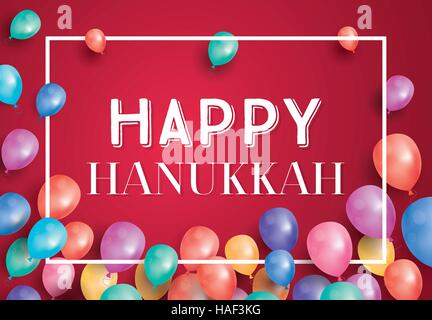 Happy Hanukkah Day Card with Flying Balloons and White Frame. Vector illustration. - Stock Photo