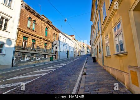 Old Mesnicka street in Zagreb upper town, capital of Croatia - Stock Photo