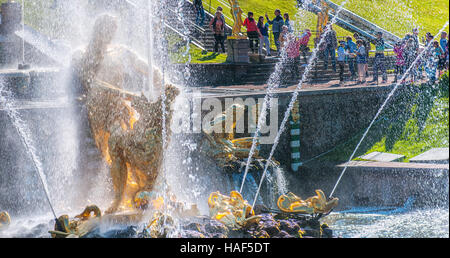 Samson tearing the lion's jaws. The sculpture of the Big cascade fountain in Peterhof - Stock Photo