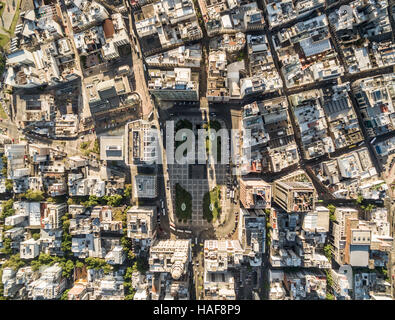 Montevideo, Uruguay - Salvo Palace building, a national icon, view of the Independence Square from above - Stock Photo