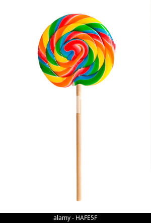 Retro candy lollipop swirl on wooden stick - Stock Photo