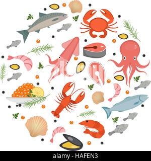 Seafood icons set in round shape, flat style. Sea food collection isolated on white background. Fish products, marine - Stock Photo