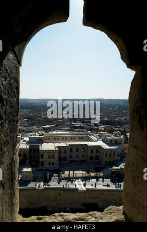 The view over Aleppo from the citadel, a large medieval fortified palace, before the civil war. - Stock Photo