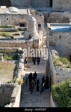 Inside the citadel, a large medieval fortified palace, in the centre of the old city of Aleppo, Syria, before the - Stock Photo