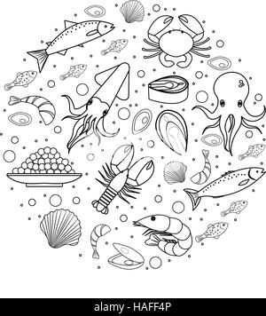 Seafood icons set in round shape, line, sketch, doodle style. Sea food collection isolated on white background. - Stock Photo