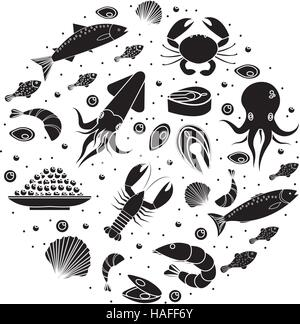 Seafood icons set in round shape, black silhouette. Sea food collection isolated on white background. Fish products, - Stock Photo