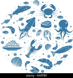 Seafood icons set in round shape,silhouette. Sea food collection isolated on white background. Fish products, marine - Stock Photo