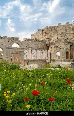 The ruins at the Church of Saint Simeon Stylites, built in the the 5th century AD. - Stock Photo