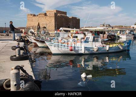 Paphos Harbour and  Castle, Cyprus - Stock Photo