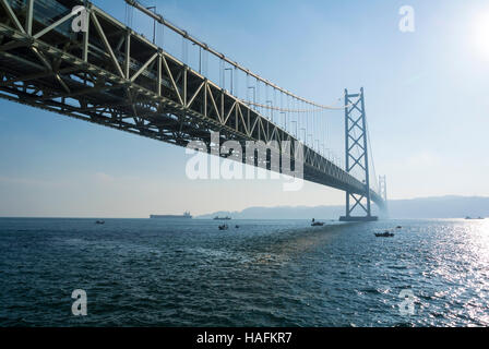 Akashi Kaikyo Bridge Hyogo Japan - Stock Photo