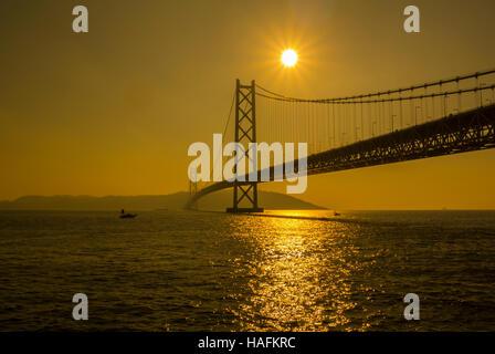Akashi Kaikyo Bridge Maiko Hyogo Japan - Stock Photo