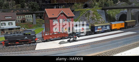 Panoramic aerial view of miniature model of the steam train - Stock Photo