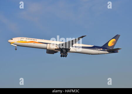 Jet Airways Boeing 777-35RER VT-JEH taking off at Heathrow Airport, London, UK - Stock Photo