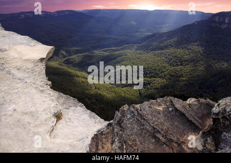 Landscape of Lincoln Rock Lookout at sunset in the Blue Mountains National Park in the Blue Mountains region of - Stock Photo