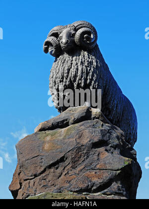 The Moffat Ram: a statue on the High Street at Moffat, Scotland, UK - Stock Photo