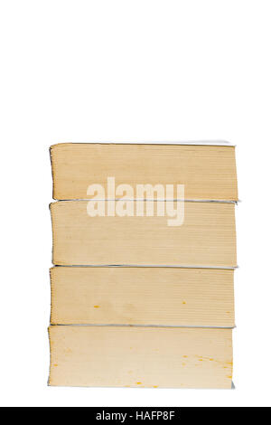 Stack of old paperback books isolated with copy space
