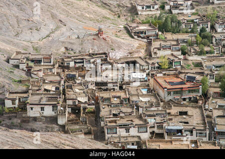 Traditional tibetan homes in the Gyantse town in the Tibet Autonomous Region of China - Stock Photo