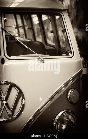 Photo Volkswagen Transporter, Year 1950-1975, Minibus 9 seats be, VW,   photo auto headlight, - Stock Photo