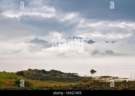 Coast of  Norway sea in clouds of fog. Cloudy Nordic day on Lofoten islands - Stock Photo