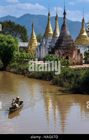 Ywama Paya Buddhist Temple - Inle Lake in Shan State in Myanmar (Burma) - Stock Photo