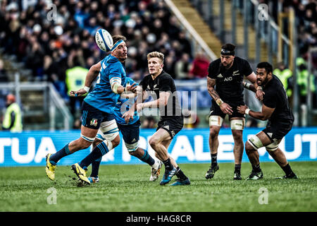 Roma ITALY - 12 November 2016 - Rugby - Stadio Olimpico in Roma  - Rugby Test Match - Italy  New Zealand - An action - Stock Photo