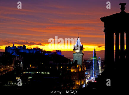 Edinburgh city from Calton Hill, Scotland. 30th Nov, 2016. St Andrew's Day is the national day in Scotland. Historic - Stock Photo