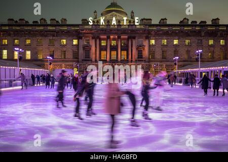 London, UK. 30th Nov, 2016. Somerset House Ice Rink Credit:  Guy Corbishley/Alamy Live News - Stock Photo