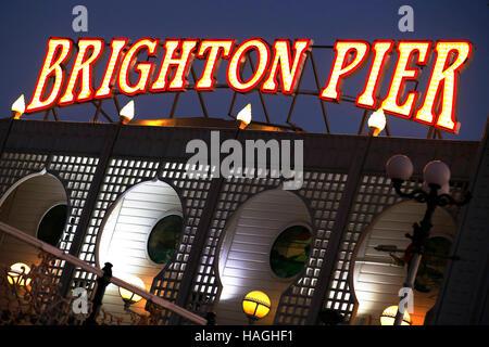 Brighton. East Sussex, UK. 30th Nov, 2016. Illuminated sign for Brighton Pier Brighton Pier Group PLC, which was - Stock Photo