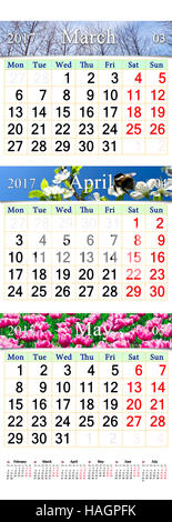 office triple calendar for March April and May 2017 with pictures of nature - Stock Photo