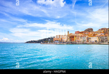 Porto Santo Stefano harbor seafront and village skyline., italian travel destination. Monte Argentario, Tuscany, - Stock Photo