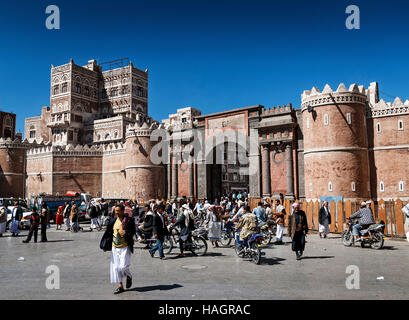 central sanaa sana'a city old town street by market square landmark in yemen - Stock Photo