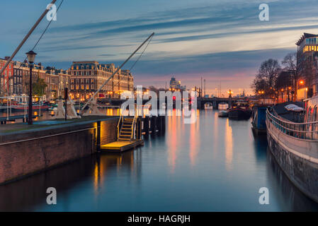 Amstel River and surroundings in Amsterdam Netherlands - Stock Photo