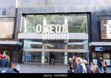 View of the entrance to the Odeon cinema in Leicester Square, London, UK - Stock Photo