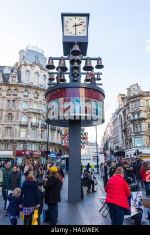 The Swiss Glockenspiel, a musical clock featuring 27 bells and 11 moving Swiss figures, Leicester Square, London, UK