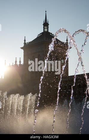 Fountain and Cavalry Academy, Plaza Zorrilla, Valladolid Spain - Stock Photo