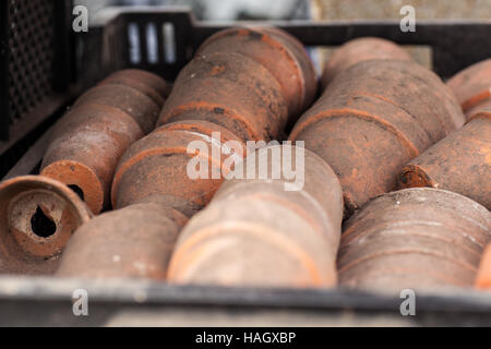 Old and dirty terracotta plant pots in a tray - Stock Photo