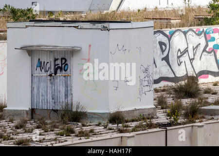 Graffiti on derelict buildings in the harbour of Split, Croatia. - Stock Photo