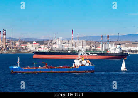 Gibunker 100, Oil, Products, Tanker,  and Meltemi Delta Tankers, Crude Oil carrierer off  San Roque  Refinery - Stock Photo