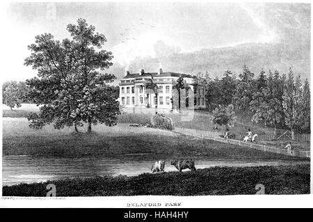 An engraving of Delaford Park scanned at high resolution from a book printed in 1812. Believed copyright free. - Stock Photo