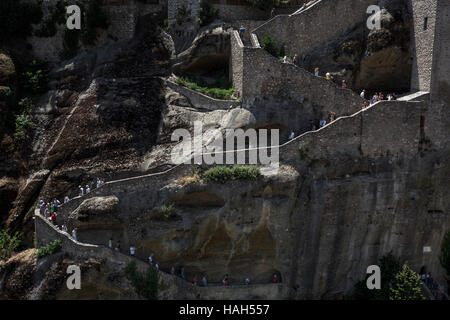 Tourists at the Great Meteoron Monastery, Meteora, Greece on July 15, 2016.