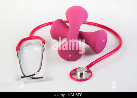 Workout and regular checkups at doctor for safe health - Stock Photo