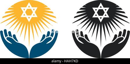 Judaism vector logo. Star of David or Religion icon - Stock Photo