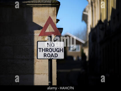 An old fashioned No Through road sign is still in place in Stamford England UK - Stock Photo